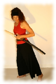 Female martial artist preparing her sword